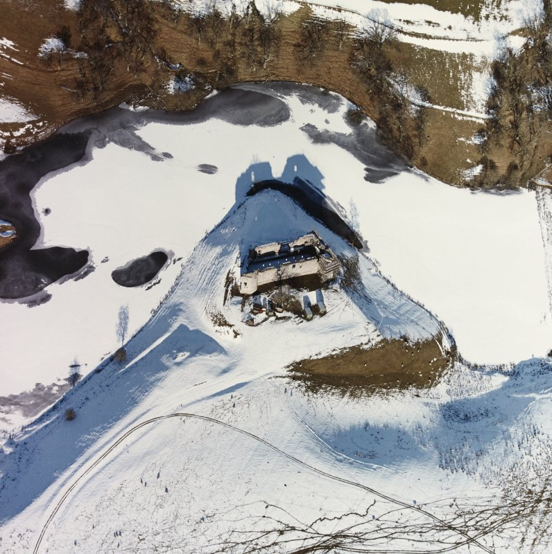 Morton Castle Aerial view in snow, from South
