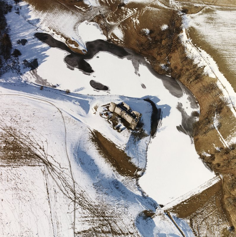 Morton Castle Aerial view in snow, from South East