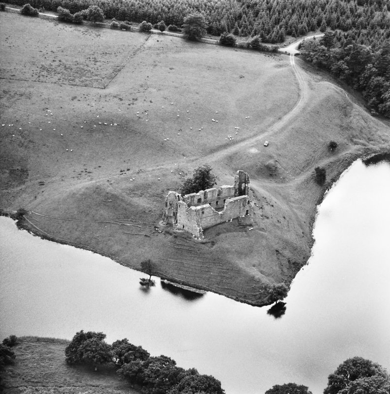 Aerial view of Morton Castle from North North East