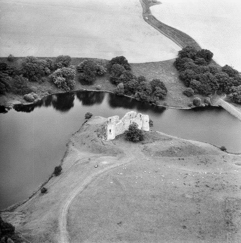 Aerial view of Morton Castle from South West