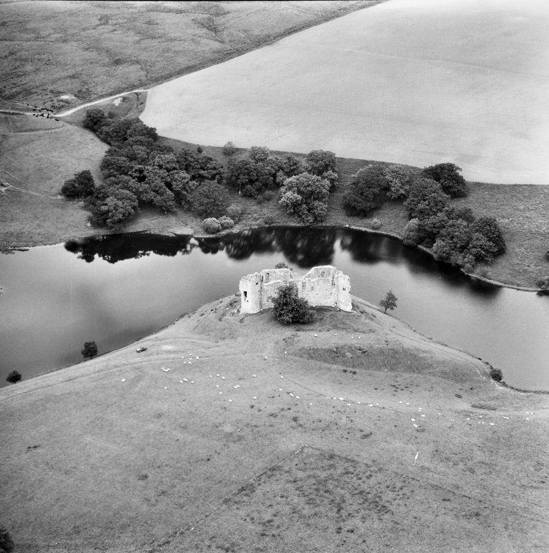 Aerial view of Morton Castle from South South East
