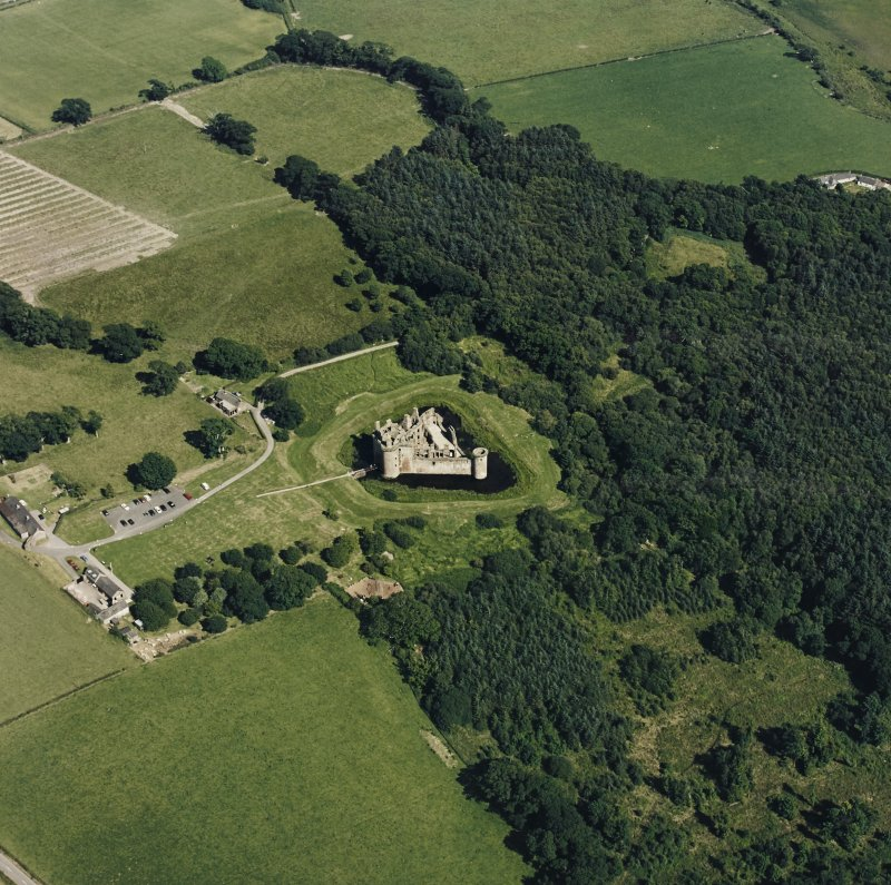 Oblique aerial view of Caerlaverock Castle from NW.