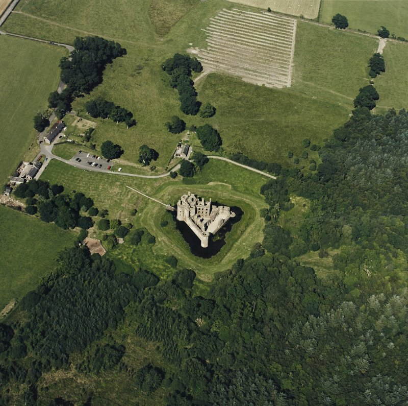 Oblique aerial view of Caerlaverock Caslte, taken from the SW, centred on the castle.
