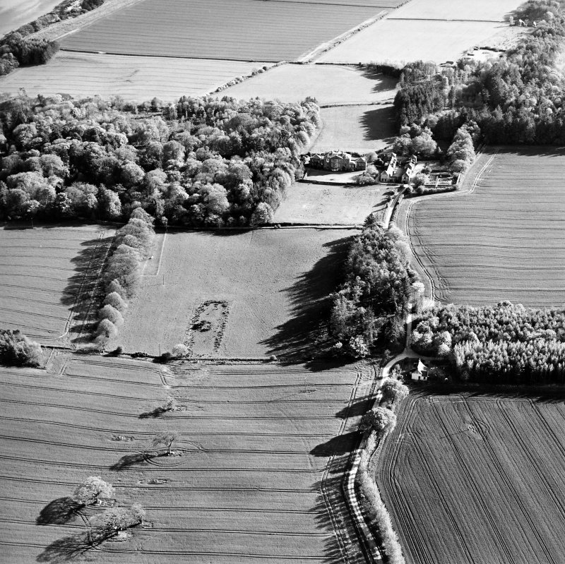 Oblique aerial view centred on the possible plantation bank with country house, stables and gardens adjacent, taken from the NNE.