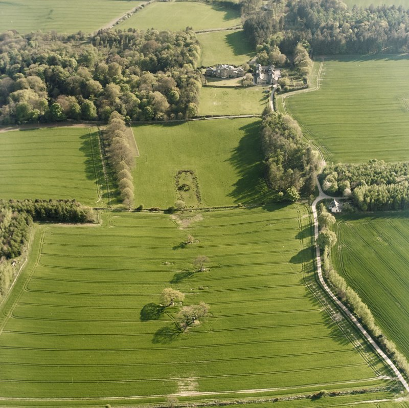 Oblique aerial view centred on the possible plantation bank with country house, stables and gardens adjacent, taken from the NE.