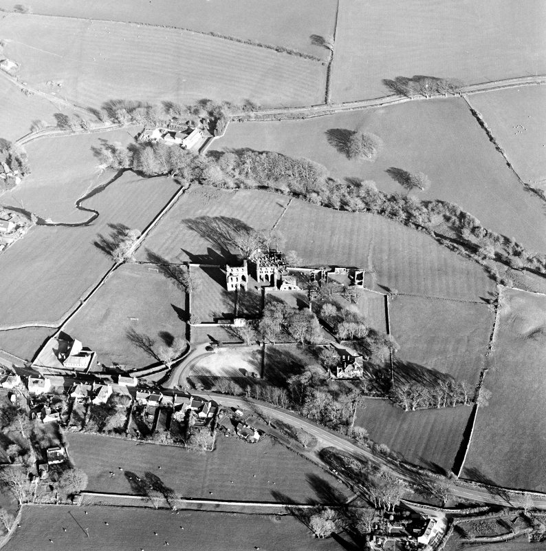 Oblique aerial view centred on the abbey and manse, taken from the WNW.