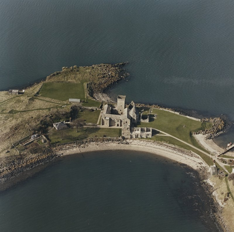 Aerial view of St Colm's Abbey from S.