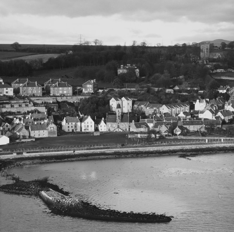 General view of Culross Burgh with remains of pier visible in the foreground