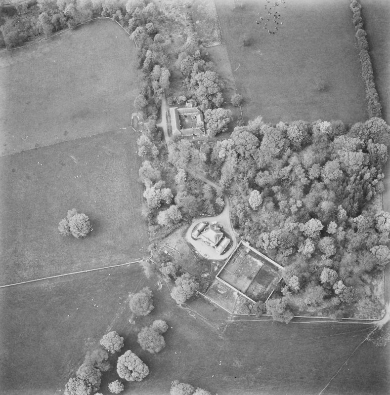 Aerial view of house, steading and garden