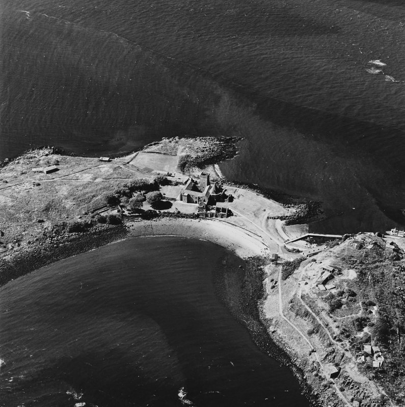 Inchcolm Island, oblique aerial view, taken from the SE, showing Inchcolm Abbey and a coast battery.