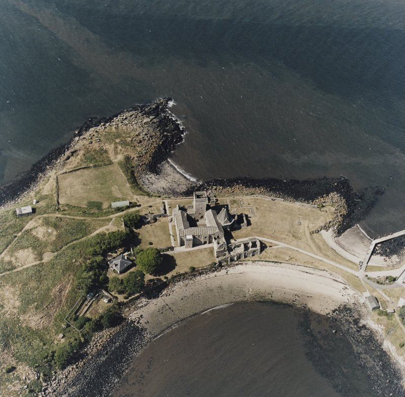 Inchcolm Island, oblique aerial view, taken from the SSE, centred on Inchcolm Abbey.