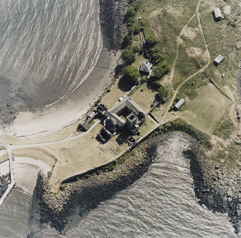 Inchcolm Island, oblique aerial view, taken from the NE, centred on Inchcolm Abbey.