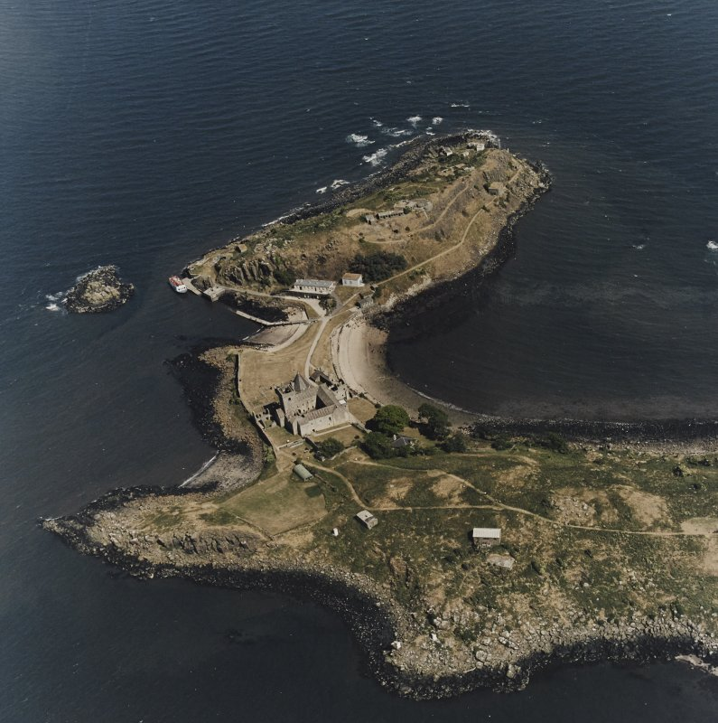 Inchcolm Island, oblique aerial view, taken from the W, showing Inchcolm Abbey and three coastal batteries.