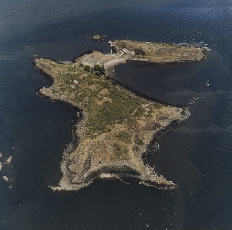 Inchcolm Island, oblique aerial view, taken from the W, showing a general view of the island, with Inchcolm Abbey and four coastal batteries visible.