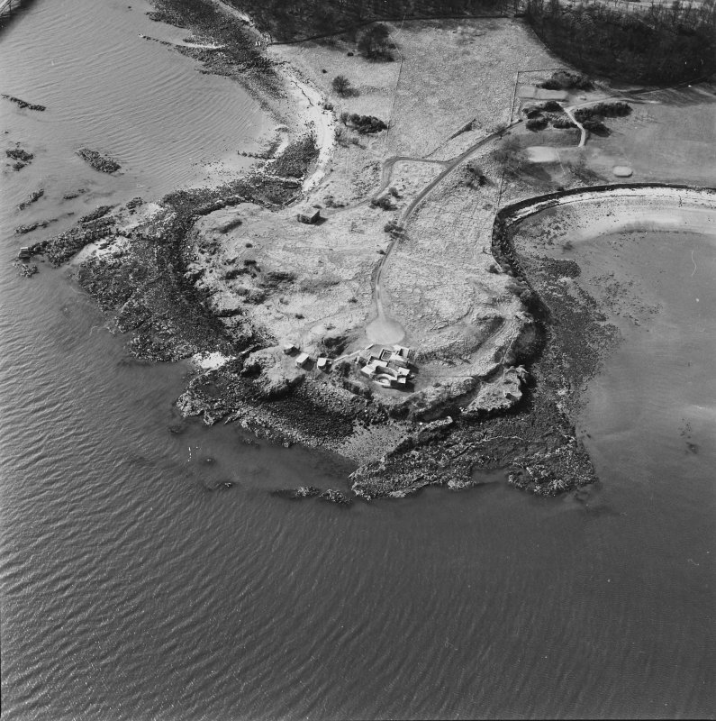 Oblique aerial view of Charles Hill centred on a coast battery with a ferry-house cellar adjacent, taken from the E.