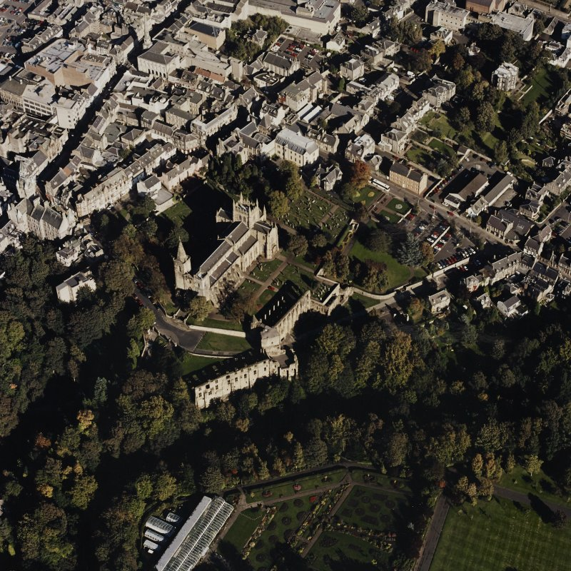 Oblique aerial view centred on the abbey, taken from the WSW.