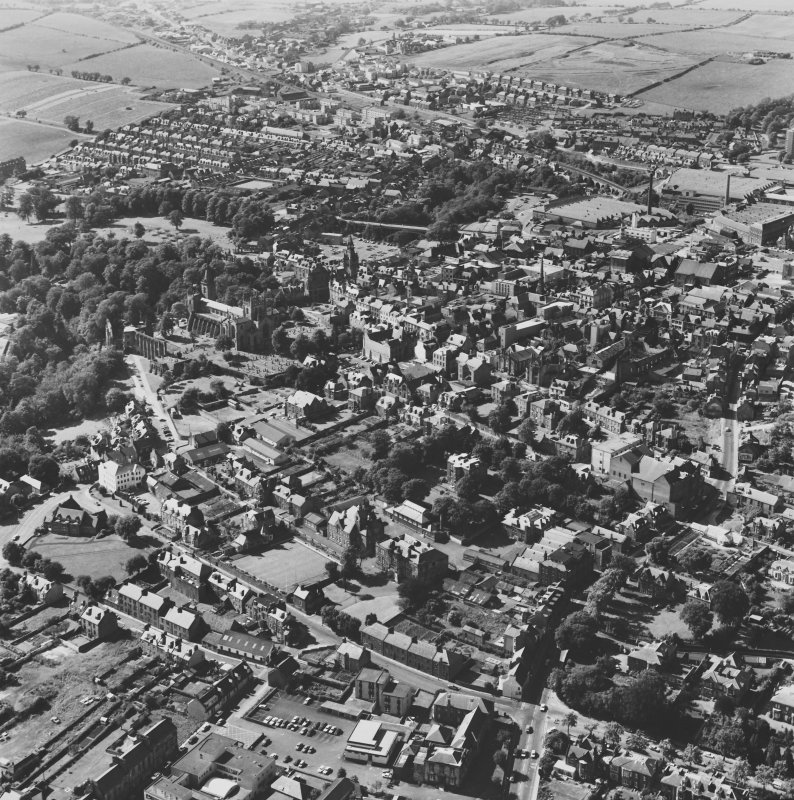 Aerial view of town including Abbey RCAMSAP