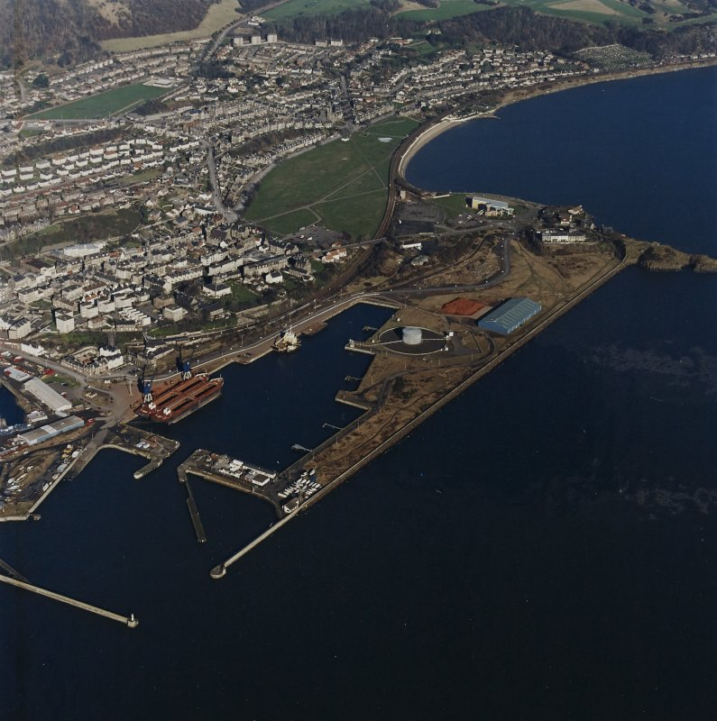 Oblique aerial view centred on Burntisland Harbour, taken from the SW.