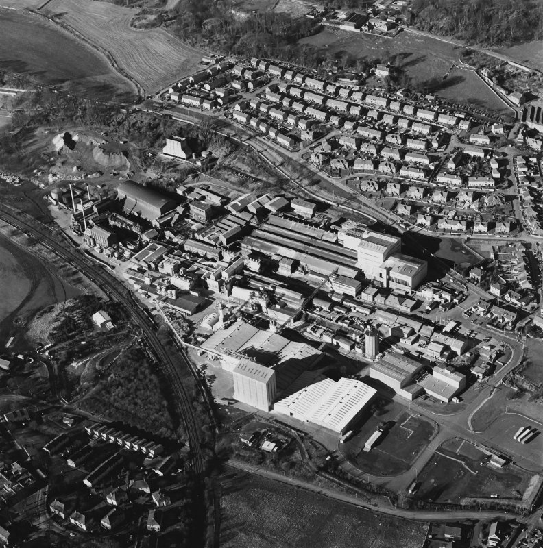 Oblique aerial view centred on the Alumina Works, taken from the SE.