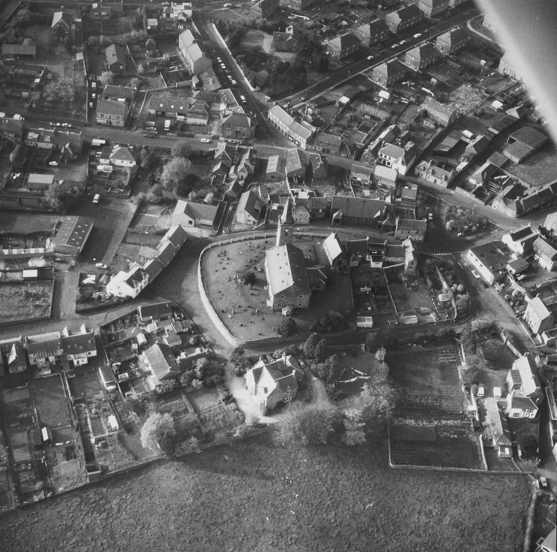 Aerial view from East of St Drostan's Parish Church and its environs.