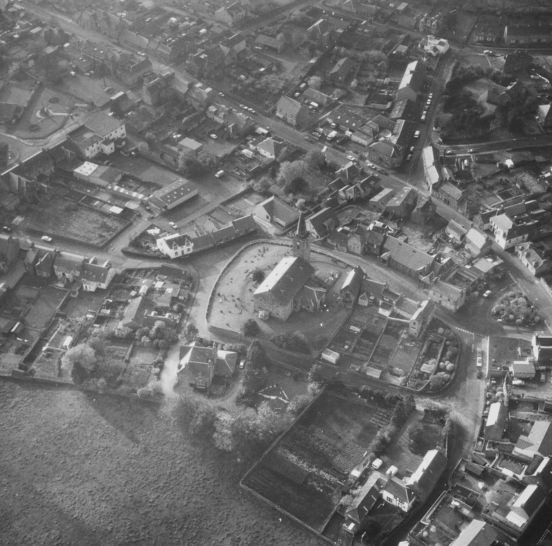 Aerial view from North East of St Drostan's Parish Church and its environs.
