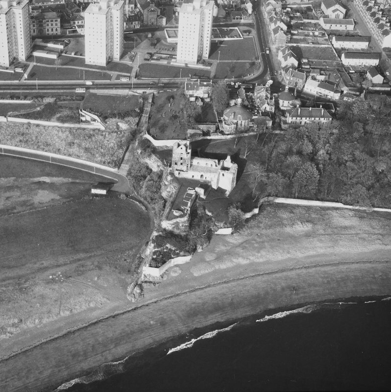 Aerial view from South of Ravenscraig Castle. Includes Pathhead tower blocks.