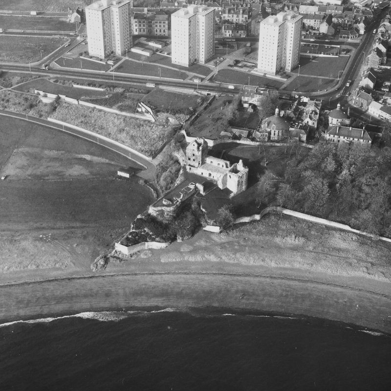 Aerial view from South East of Ravenscraig Castle. Includes Pathhead tower blocks.