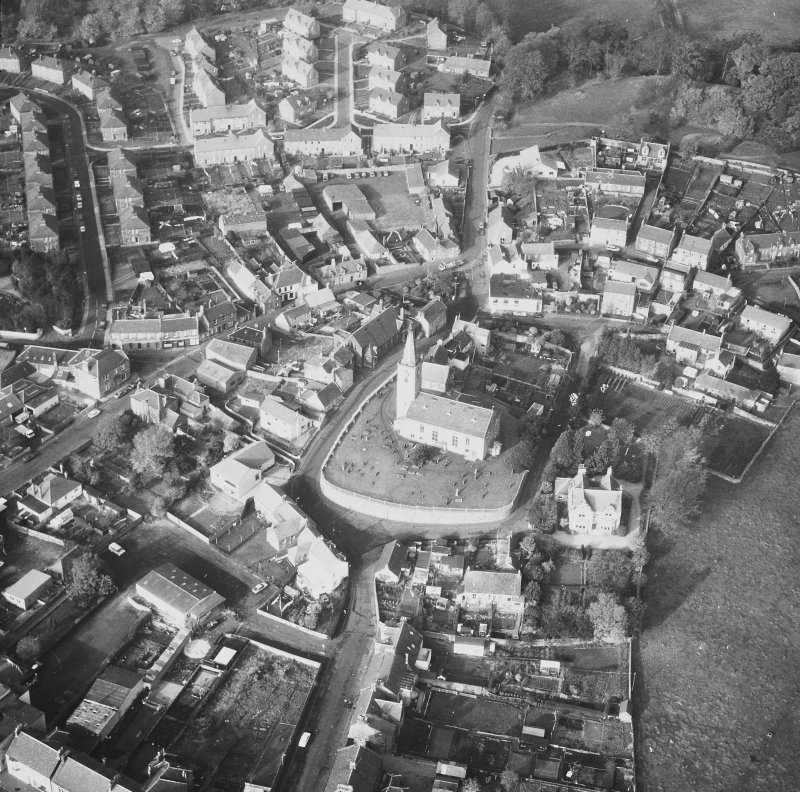 Aerial view from South East of St Drostan's Parish Church and its environs.