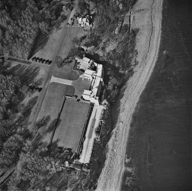 Aerial view of Wemyss Castle and dovecot, taken from the SW.