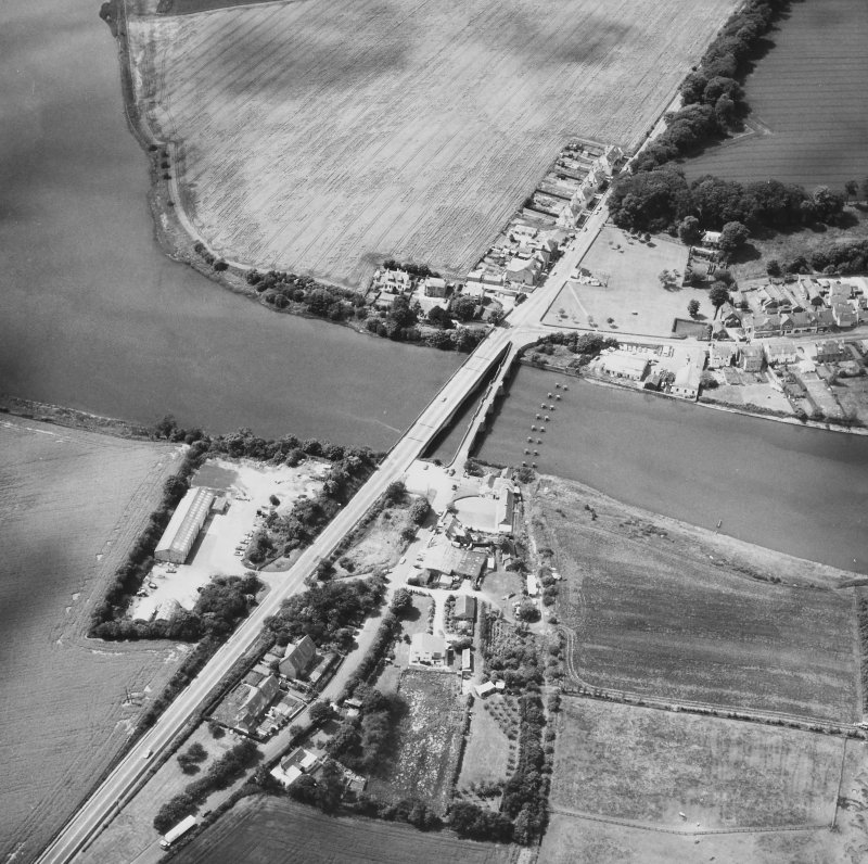 Aerial view of old and new bridges at Guardbridge