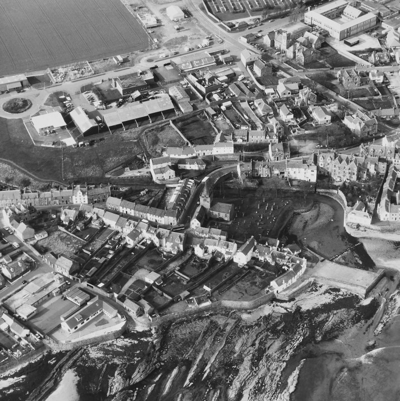 Aerial view of Anstruther Wester including St Nicholas Church, graveyard and Tolbooth