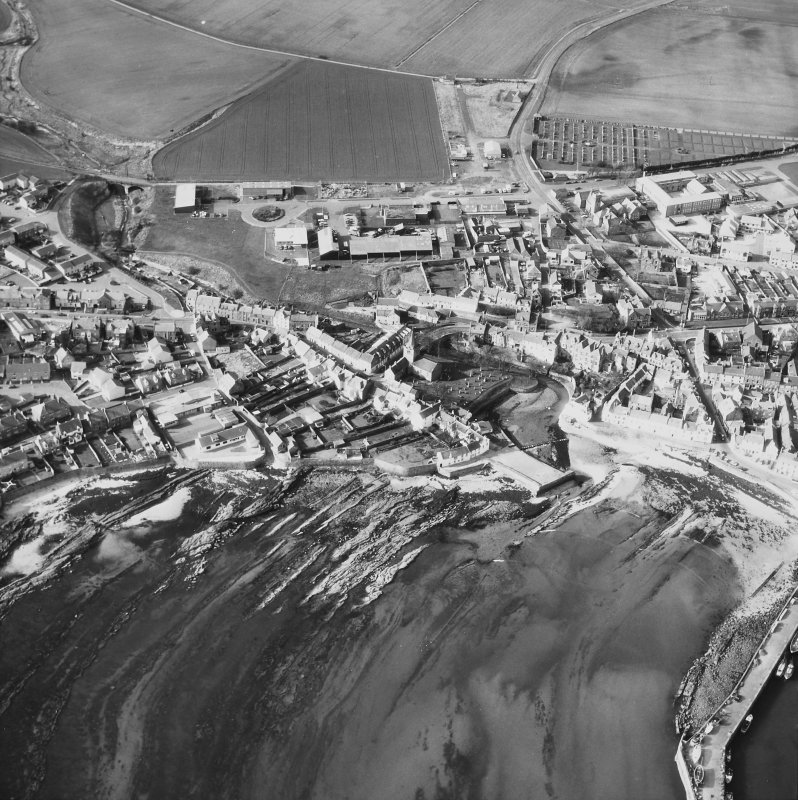 Aerial view of Anstruther Wester including St Nicholas Church, graveyard, Harbour and  Tolbooth