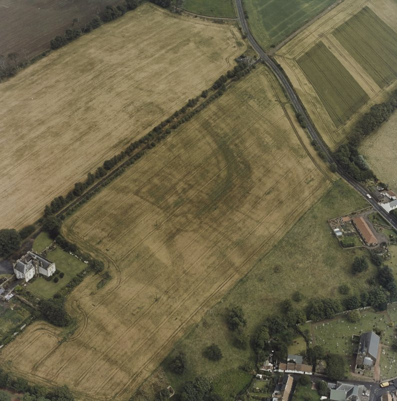 Aerial view of Innergellie House, Walled Garden, Doocot, East Lodge and Gatepiers and Kilrenny Church and Churchyard.
