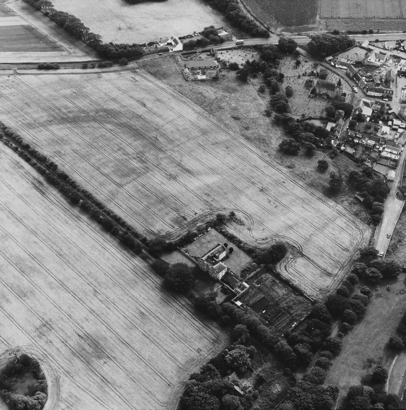 Aerial view of Innergellie House, Walled Garden, Doocot, East Lodge and Gatepiers and Kilrenny.