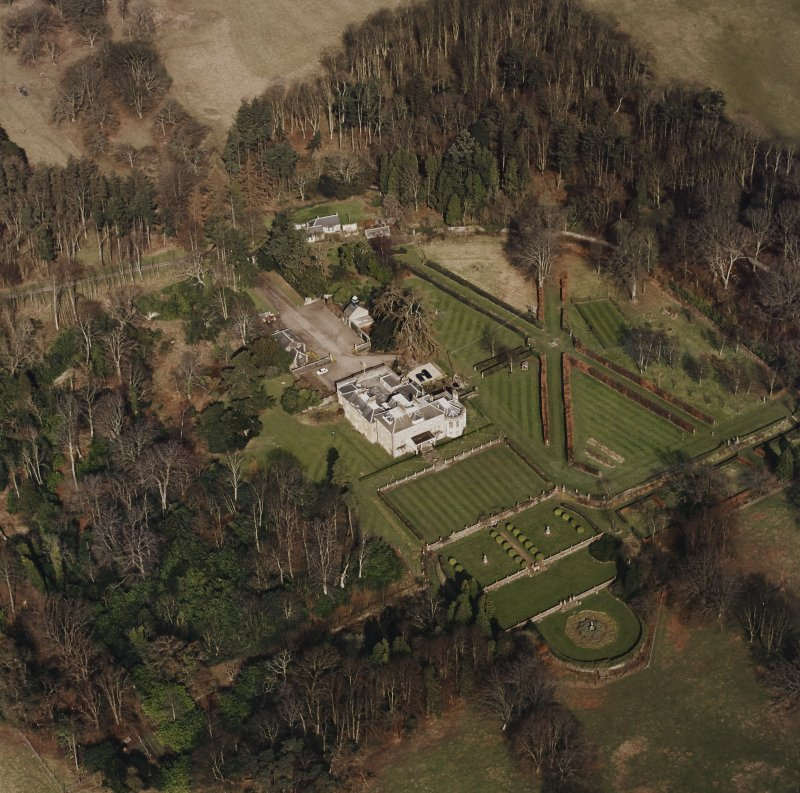 Oblique aerial view of Charleton House centred on a country house, taken from the S.