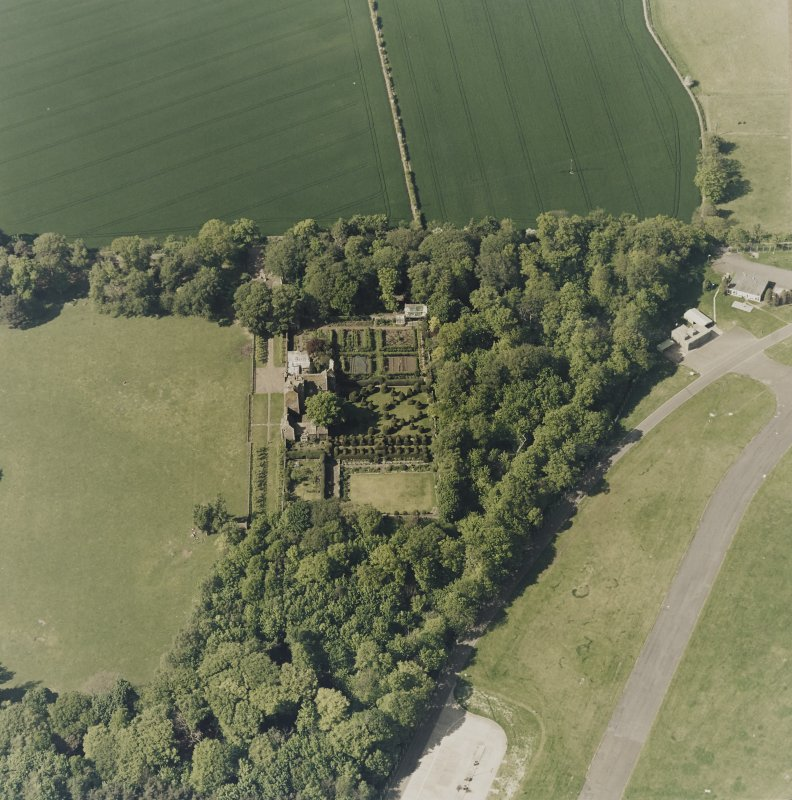 Aerial view of Earlshall country house, formal garden and dovecot, taken from the S.