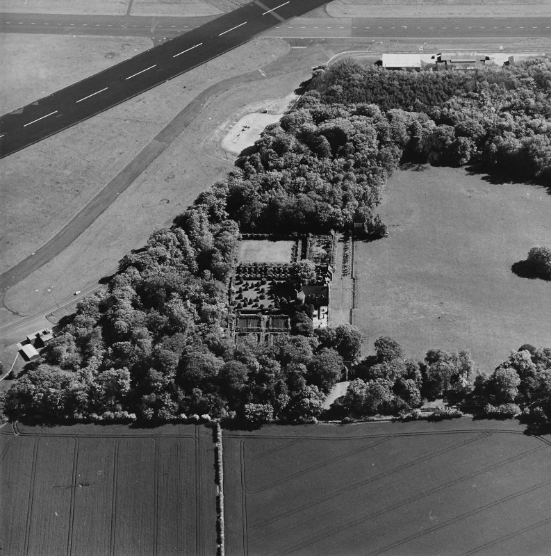 Aerial view of Earlshall country house, formal garden and dovecot, taken from the NNW.