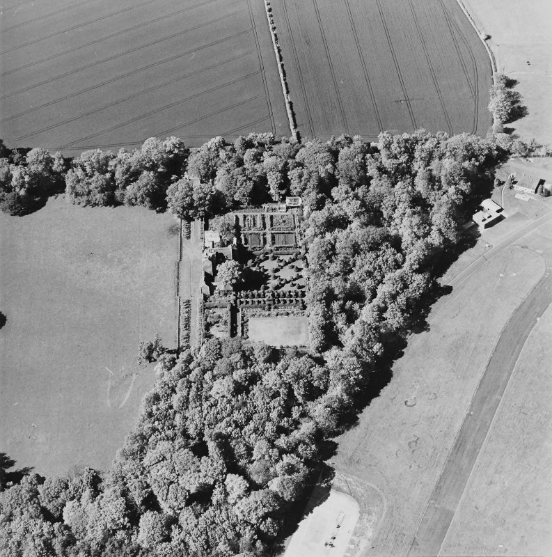 Aerial view of Earlshall country house, formal garden and dovecot, taken from the SSE.