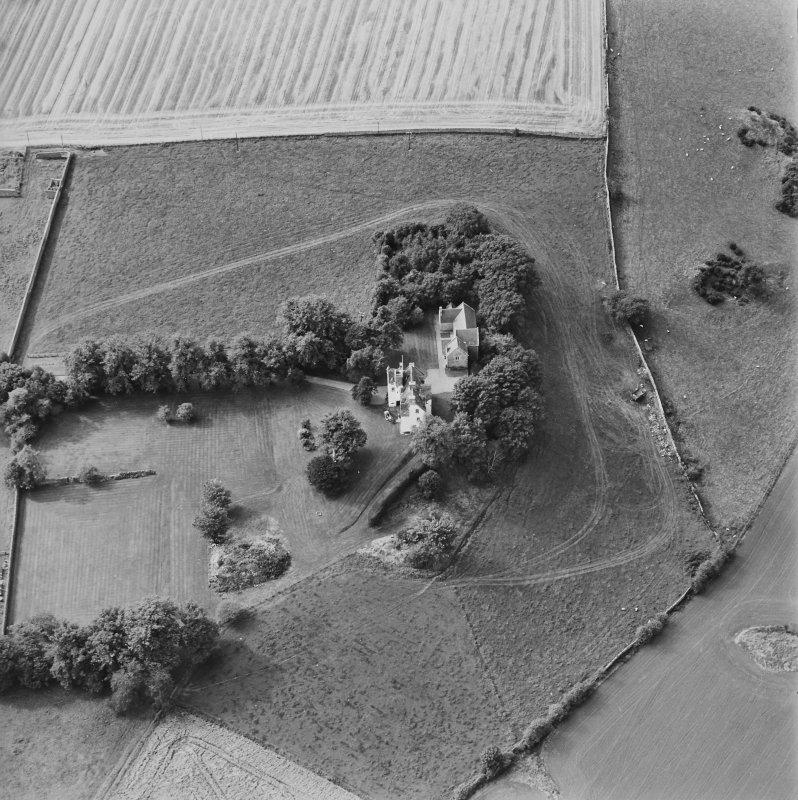 Oblique aerial view centred on Pitcullo castle, taken from the ENE.