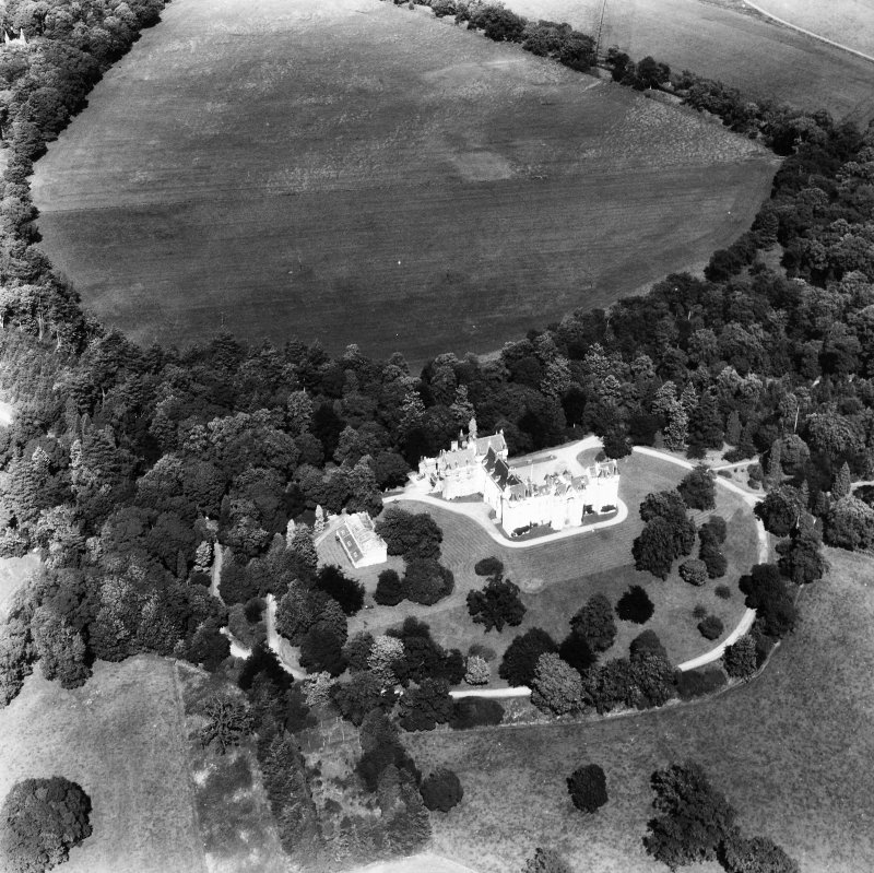 Fyvie Castle. Oblique aerial view from South West.
