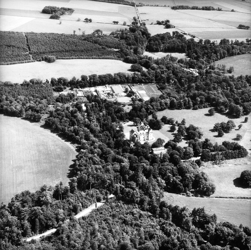Fyvie Castle. Oblique aerial view from North West.