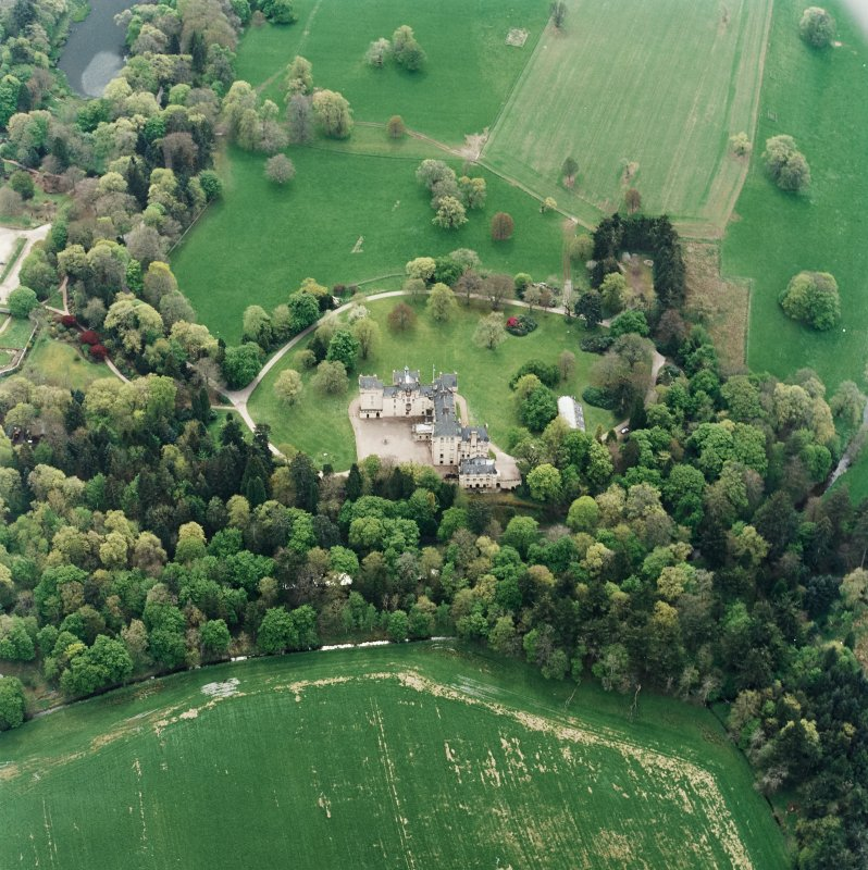 Oblique aerial view centred on Fyvie Castle, taken from the N.
