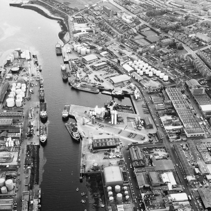 Aberdeen,Harbour. General oblique aerial view.
