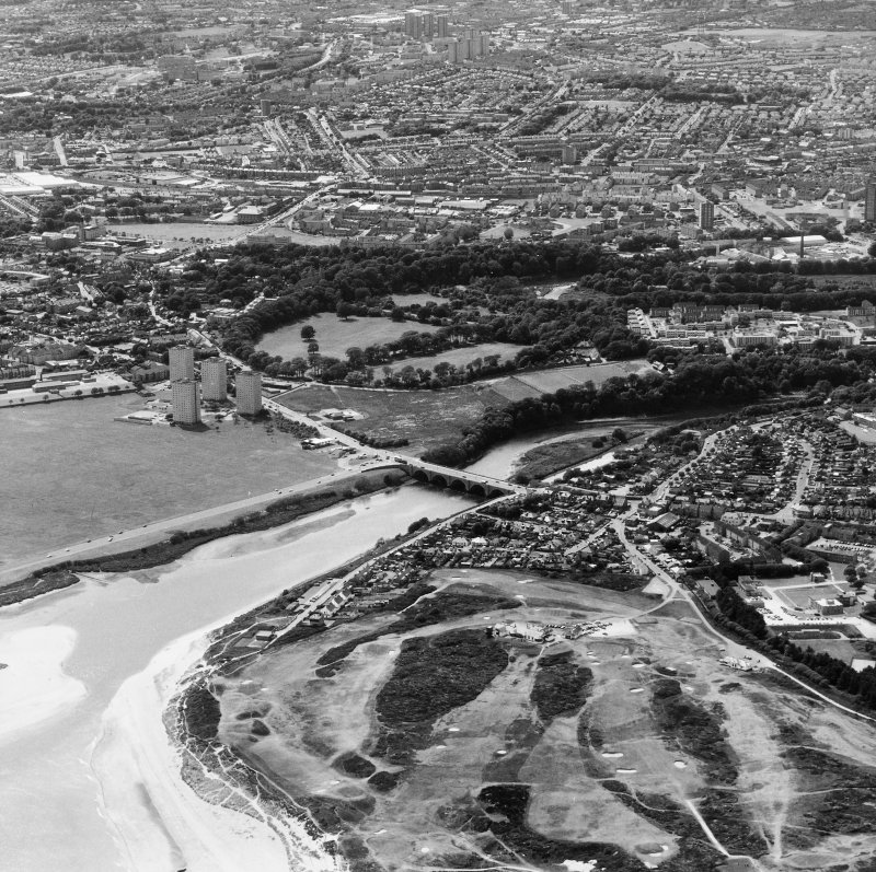 Aberdeen, City Centre, Bridge of Don Road, Bridge, St Ninian's Place. Oblique aerial view.