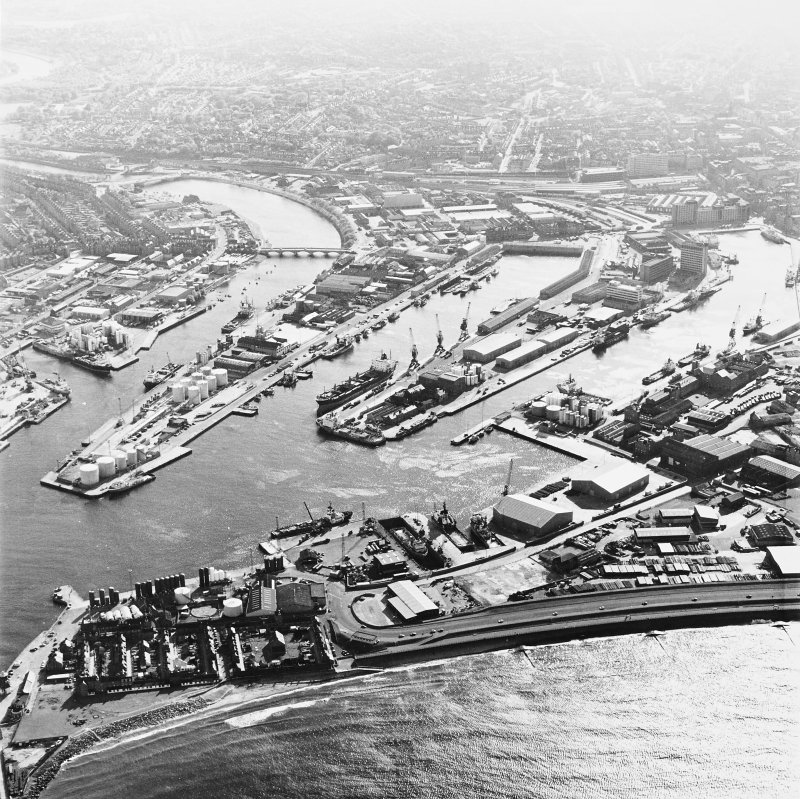 Aberdeen harbour, oblique aerial view.