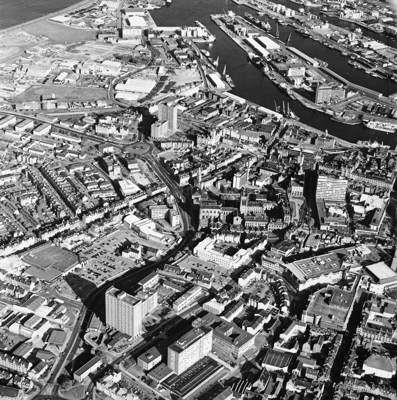 Aberdeen City Centre, oblique aerial view, taken from the NW, centred on Marischal College.