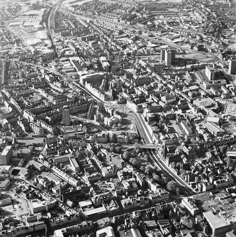 Aberdeen City Centre, oblique aerial view, taken from the SSE, centred on Denburn Viaduct.