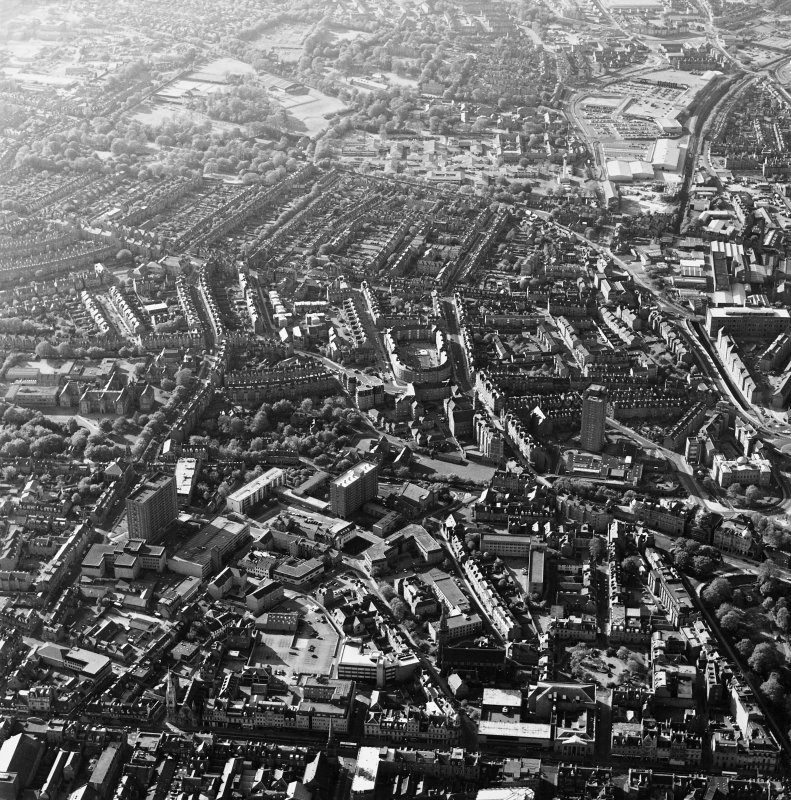 Aberdeen City Centre, oblique aerial view, taken from the SSE, centred on the Rosemount area.