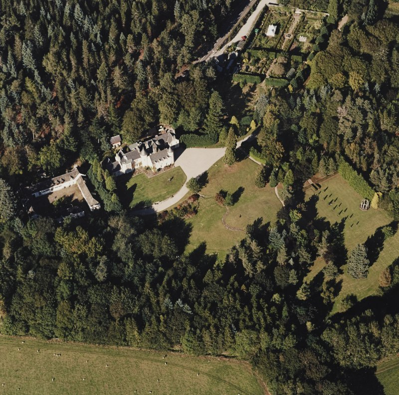 Oblique aerial view of Candacraig House and grounds centred on the country house, taken from the S.
