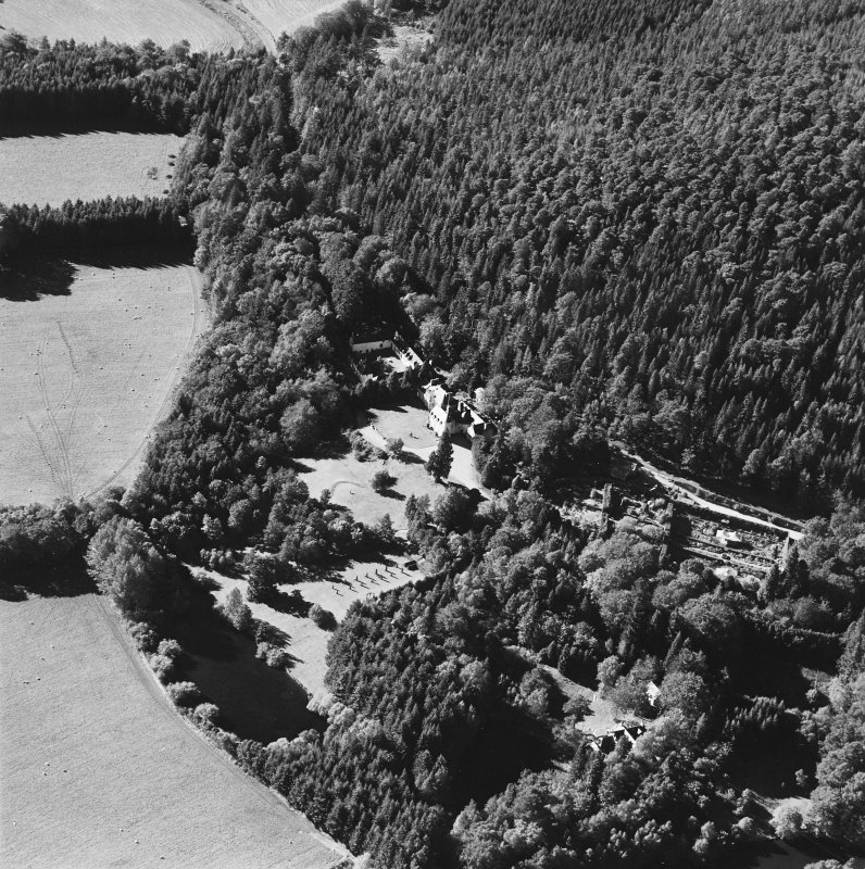 Oblique aerial view of Candacraig House and grounds centred on the country house, taken from the E.